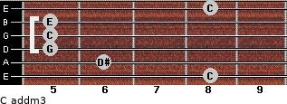 C add(m3) for guitar on frets 8, 6, 5, 5, 5, 8