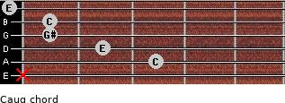 Caug for guitar on frets x, 3, 2, 1, 1, 0