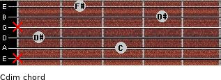 Cdim for guitar on frets x, 3, 1, x, 4, 2