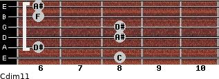 Cdim11 for guitar on frets 8, 6, 8, 8, 6, 6