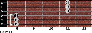 Cdim11 for guitar on frets 8, 8, 8, 11, 11, 11