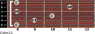 Cdim11 for guitar on frets 8, 9, 10, 8, 11, 8
