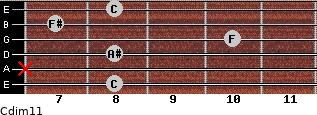 Cdim11 for guitar on frets 8, x, 8, 10, 7, 8