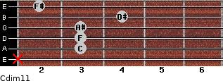 Cdim11 for guitar on frets x, 3, 3, 3, 4, 2