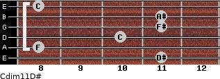 Cdim11/D# for guitar on frets 11, 8, 10, 11, 11, 8