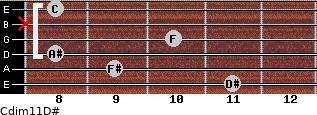 Cdim11/D# for guitar on frets 11, 9, 8, 10, x, 8
