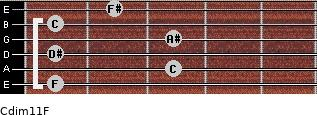 Cdim11/F for guitar on frets 1, 3, 1, 3, 1, 2