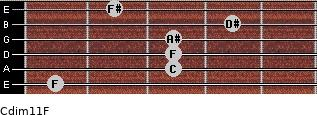 Cdim11/F for guitar on frets 1, 3, 3, 3, 4, 2