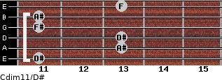 Cdim11/D# for guitar on frets 11, 13, 13, 11, 11, 13