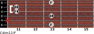 Cdim11/F for guitar on frets 13, x, 13, 11, 11, 13
