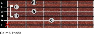 Cdim/6 for guitar on frets x, 3, 1, 2, 1, 2