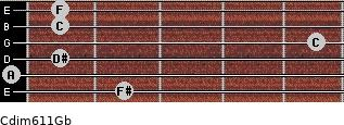 Cdim6/11/Gb for guitar on frets 2, 0, 1, 5, 1, 1