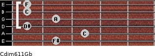 Cdim6/11/Gb for guitar on frets 2, 3, 1, 2, 1, 1