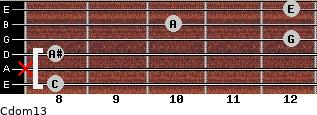 Cdom13 for guitar on frets 8, x, 8, 12, 10, 12