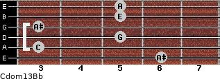Cdom13\Bb for guitar on frets 6, 3, 5, 3, 5, 5