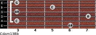 Cdom13\Bb for guitar on frets 6, 3, 7, 3, 5, 3