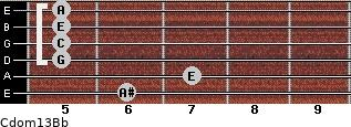 Cdom13\Bb for guitar on frets 6, 7, 5, 5, 5, 5