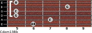 Cdom13\Bb for guitar on frets 6, 7, 5, 5, 8, 5