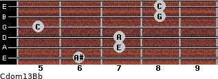 Cdom13\Bb for guitar on frets 6, 7, 7, 5, 8, 8