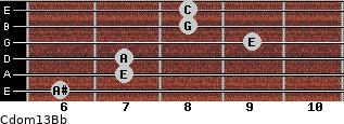 Cdom13\Bb for guitar on frets 6, 7, 7, 9, 8, 8