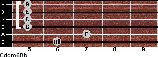 Cdom6\Bb for guitar on frets 6, 7, 5, 5, 5, 5