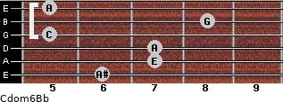 Cdom6\Bb for guitar on frets 6, 7, 7, 5, 8, 5