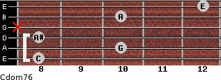 Cdom7/6 for guitar on frets 8, 10, 8, x, 10, 12