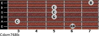 Cdom7\6\Bb for guitar on frets 6, 3, 5, 5, 5, 7