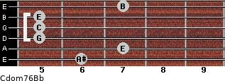 Cdom7\6\Bb for guitar on frets 6, 7, 5, 5, 5, 7