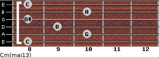 Cm(maj13) for guitar on frets 8, 10, 9, 8, 10, 8