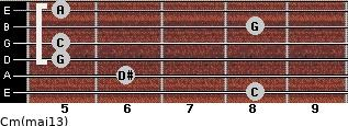 Cm(maj13) for guitar on frets 8, 6, 5, 5, 8, 5