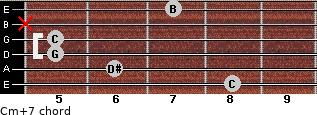 Cm(+7) for guitar on frets 8, 6, 5, 5, x, 7
