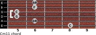 Cm11 for guitar on frets 8, 6, 5, 5, 6, 6
