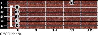 Cm11 for guitar on frets 8, 8, 8, 8, 8, 11