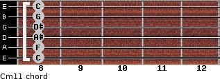 Cm11 for guitar on frets 8, 8, 8, 8, 8, 8