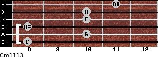 Cm11/13 for guitar on frets 8, 10, 8, 10, 10, 11