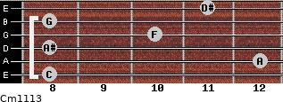 Cm11/13 for guitar on frets 8, 12, 8, 10, 8, 11