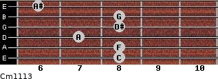 Cm11/13 for guitar on frets 8, 8, 7, 8, 8, 6