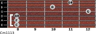 Cm11/13 for guitar on frets 8, 8, 8, 12, 10, 11