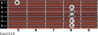 Cm11/13 for guitar on frets 8, 8, 8, 8, 8, 5