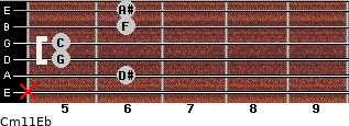 Cm11/Eb for guitar on frets x, 6, 5, 5, 6, 6