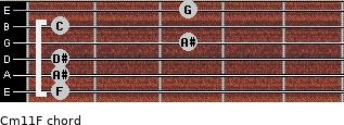 Cm11/F for guitar on frets 1, 1, 1, 3, 1, 3