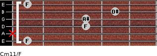Cm11/F for guitar on frets 1, x, 3, 3, 4, 1