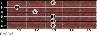 Cm11/F for guitar on frets 13, 13, 13, 12, 11, 13