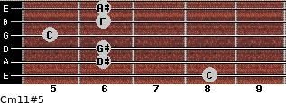Cm11#5 for guitar on frets 8, 6, 6, 5, 6, 6