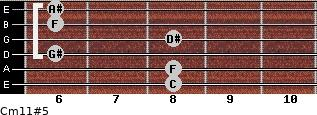 Cm11#5 for guitar on frets 8, 8, 6, 8, 6, 6