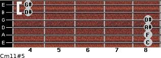 Cm11#5 for guitar on frets 8, 8, 8, 8, 4, 4