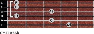 Cm11#5/Ab for guitar on frets 4, 3, 1, 3, 1, 1