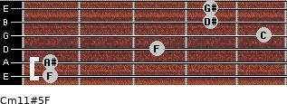 Cm11#5/F for guitar on frets 1, 1, 3, 5, 4, 4