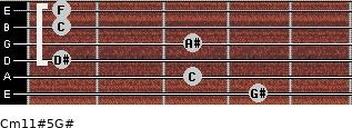 Cm11#5/G# for guitar on frets 4, 3, 1, 3, 1, 1
